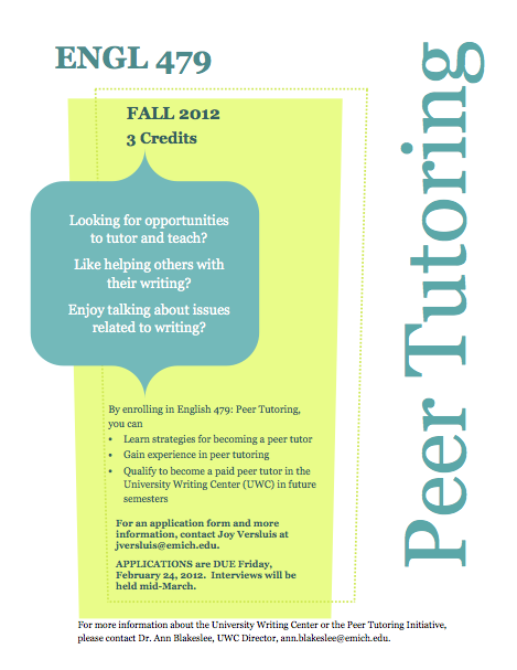 peer tutor essay Meet the peer tutors was the poetry teachers assistant and resident advisor at the ithaca writers institute in summer 2016 and the personal essay ta/ra for iwi.